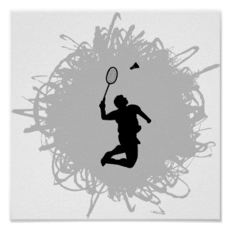 Badminton Scribble Style Poster