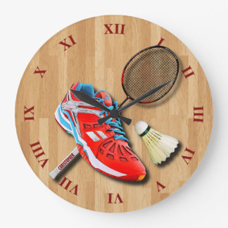 Badminton Shoe Racket Shuttlecock With Your Name Large Clock
