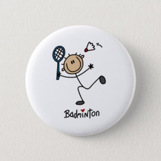 Badminton Stick Figure 6 Cm Round Badge