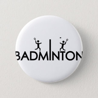 badminton text icon 6 cm round badge