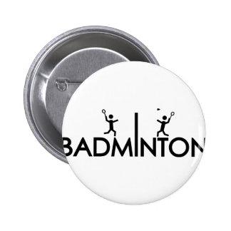 badminton text icon 6 cm round badge