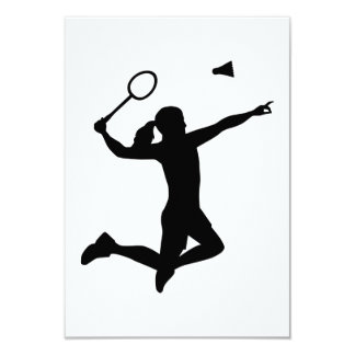 Badminton woman girl 9 cm x 13 cm invitation card