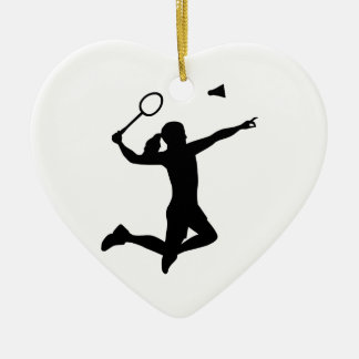 Badminton woman girl ceramic heart decoration