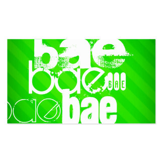 Bae; Neon Green Stripes Pack Of Standard Business Cards