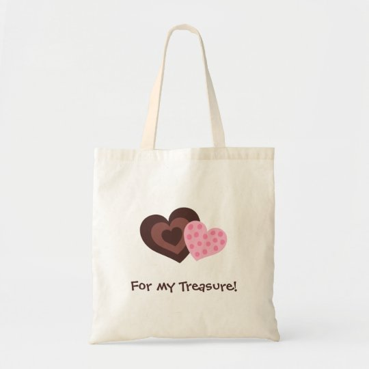 Bag: Chocolate and pink retro hearts Tote Bag