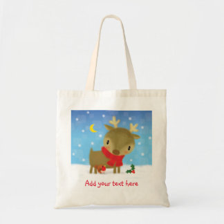 ♥ BAG ♥ Cute Christmas reindeer robin in snow