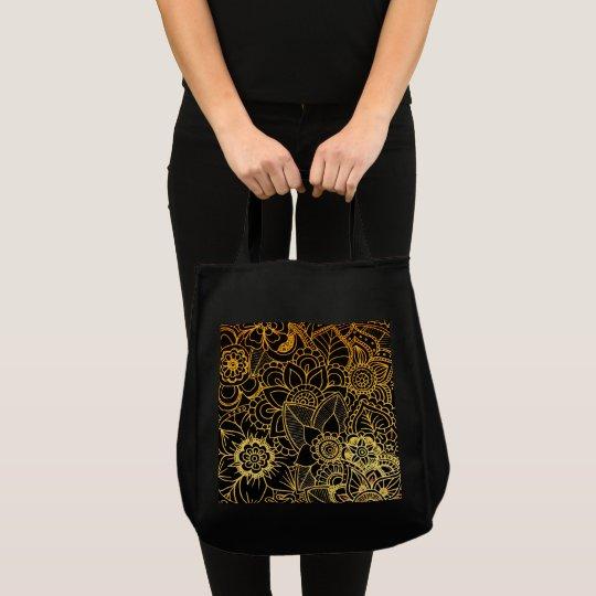 Bag Floral Doodle Gold G523