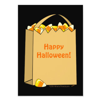Bag of Candy Corn Fun Halloween Template Personalized Invite