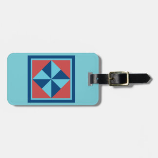 Bag Tag - Pinwheel (turquoise/red)