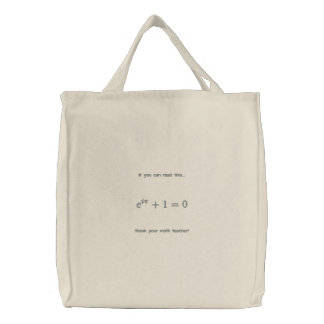 Bag: Thank your math teacher Embroidered Tote Bag