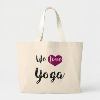"""Bag, """"We love Yoga """" Large Tote Bag"""