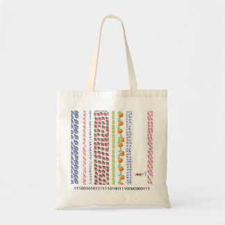 bag with barcode of fruits and numbers design
