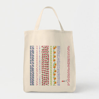 bag with barcode of watercolor fruits design