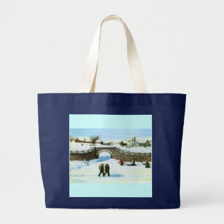 Bag With Children Playing On A Frozen Pond