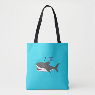 Bag with cute I love sharks design