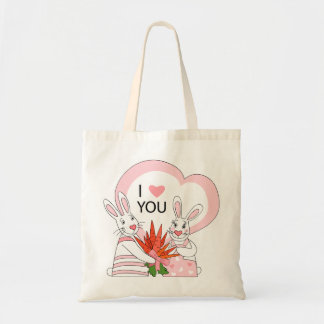 Bag with funny rabbit couple