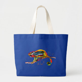 Bag with handpainted chameleon