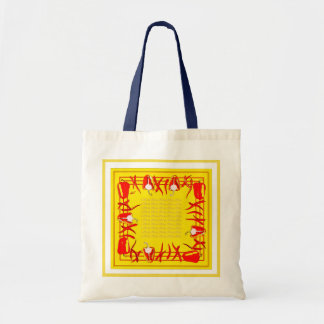 Bag with red peppers  and brigh yellow background