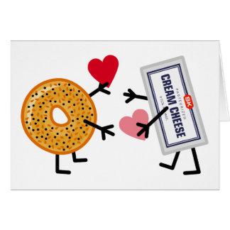 Bagel & Cream Cheese - Cute Valentine Love Hearts Card