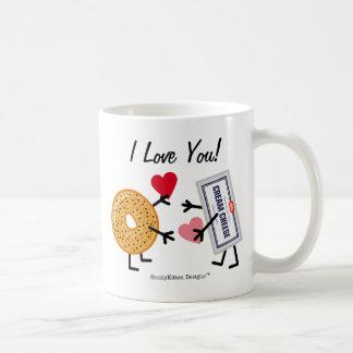 Bagel & Cream Cheese I Love You! Valentine Hearts Coffee Mug