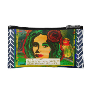 BAGETTE-LIFE IS LIKE ART  AND   ART SAVES LIVES MAKEUP BAGS