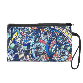 Bagettes Bag Drawing floral abstract background Wristlets