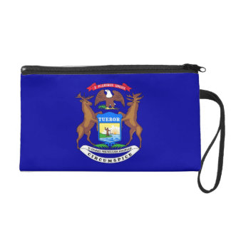 Bagettes Bag with Flag of Michigan, U.S.A. Wristlet Clutches