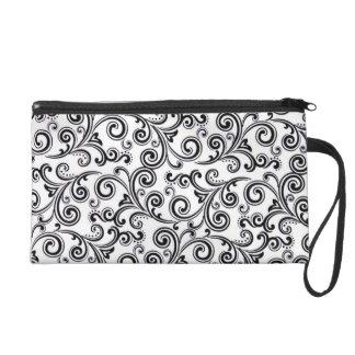 Bagettes Bag wristlet black & white swirls