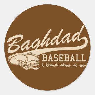 baghdad baseball - i throw shoe at you round sticker