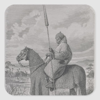 Baghirmi trooper in quilted armour square sticker