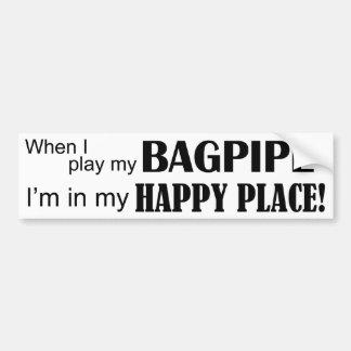 Bagpipe Happy Place Bumper Sticker