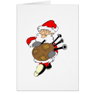 Bagpipe Irish Santa Claus Card