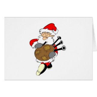 Bagpipe Santa Greeting Card