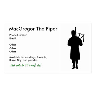Bagpiper Business Cards