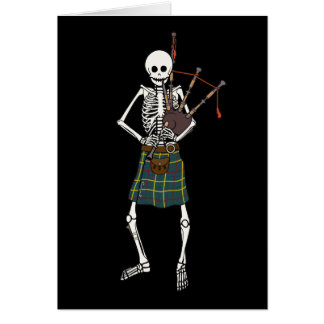 Bagpiper Skeleton Greeting Cards