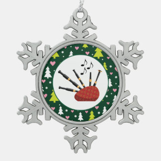 Bagpipes Music Instrument Christmas Snowflake Pewter Christmas Ornament