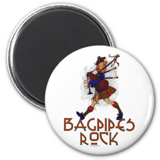 Bagpipes Rock! 6 Cm Round Magnet