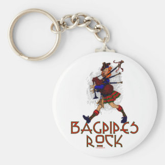 Bagpipes Rock! Basic Round Button Key Ring