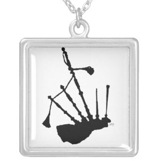 Bagpipes Silhouette Silver Plated Necklace
