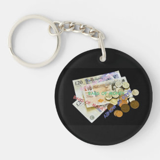 BAGS OF MONEY KEYRING Single-Sided ROUND ACRYLIC KEY RING