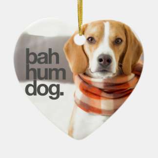 """Bah Hum Dog"" Beagle Ceramic Heart Decoration"