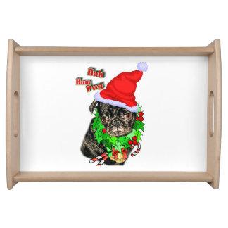 Bah Hum Pug Christmas Serving Tray