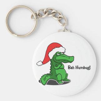 Bah Humbug! Fun, Alligator with Santa hat Basic Round Button Key Ring