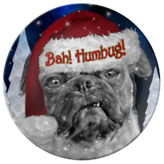 Bah Humbug Holiday Pug Dog Porcelain Plates
