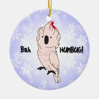 Bah Humbug Moluccan Cockatoo Christmas Ornament