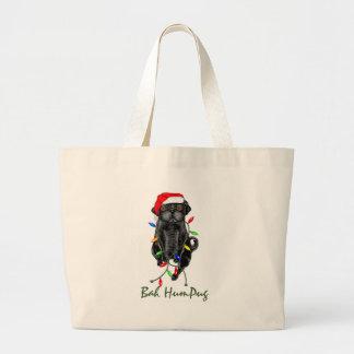 Bah HumPug  Black Pug Totebag Jumbo Tote Bag