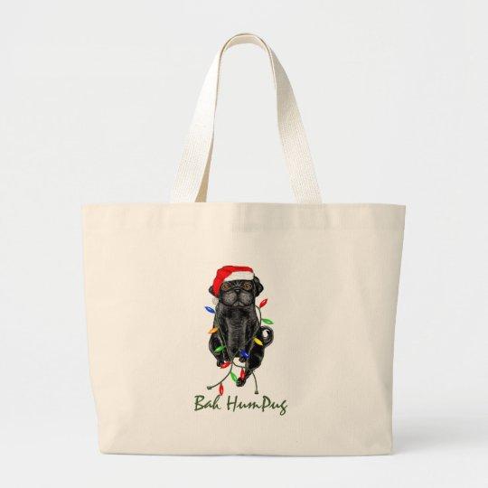 Bah HumPug Black Pug Totebag Large Tote Bag