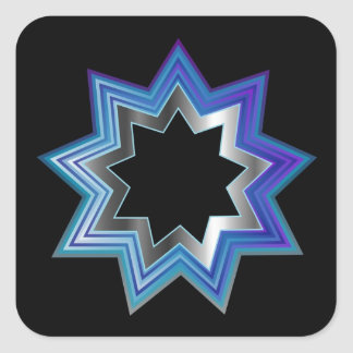 Bahai Religion Symbol- Nine pointed star Square Sticker