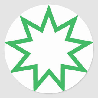 Bahai star green classic round sticker