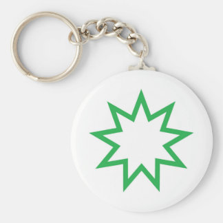 Bahai star green key ring